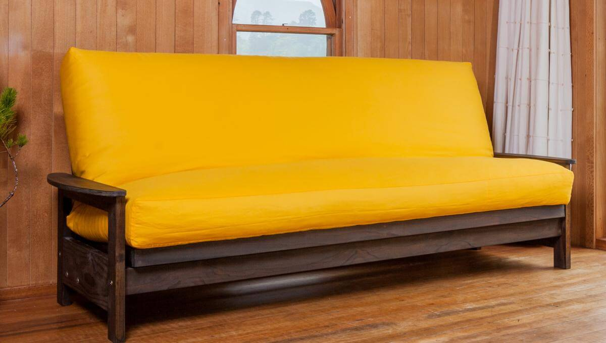 Studio Base In Sofa Position With Latex Wool Futon And Yellow Coloured Canvas Cover Double Size