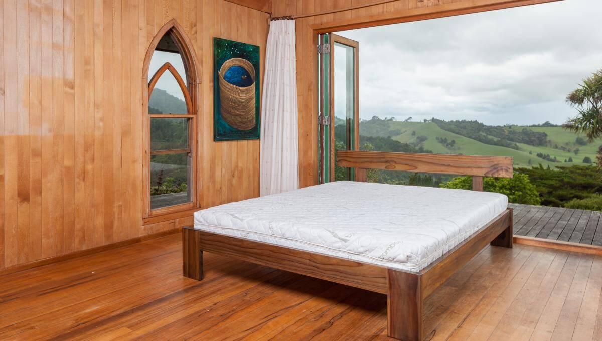 Dark wood frame with Organic Latex Natural Mattress