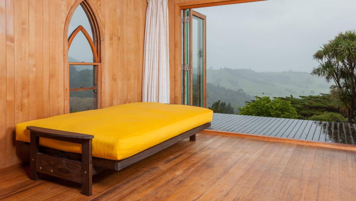 Studio Frame with Latex Wool Futon in a Yellow Cotton Cover (Double Size)