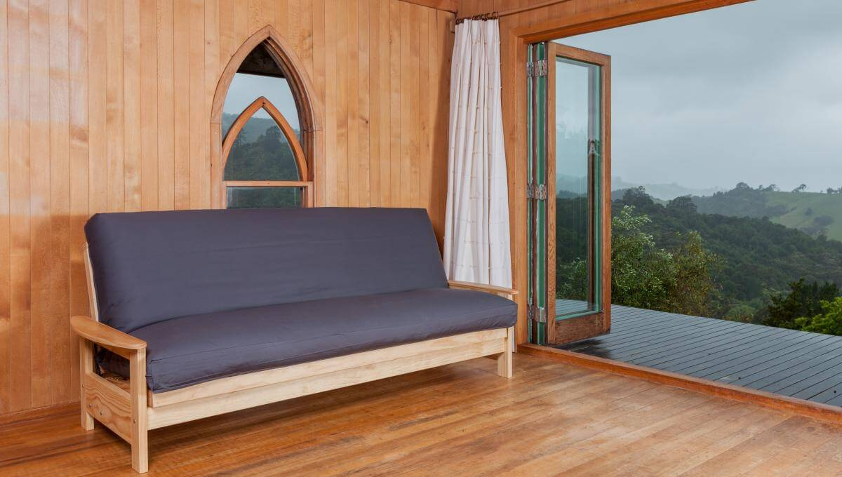 studio frame with a latex wool futon in a charcoal canvas cover coloured cotton futon cover   natural beds  rh   naturalbeds nz