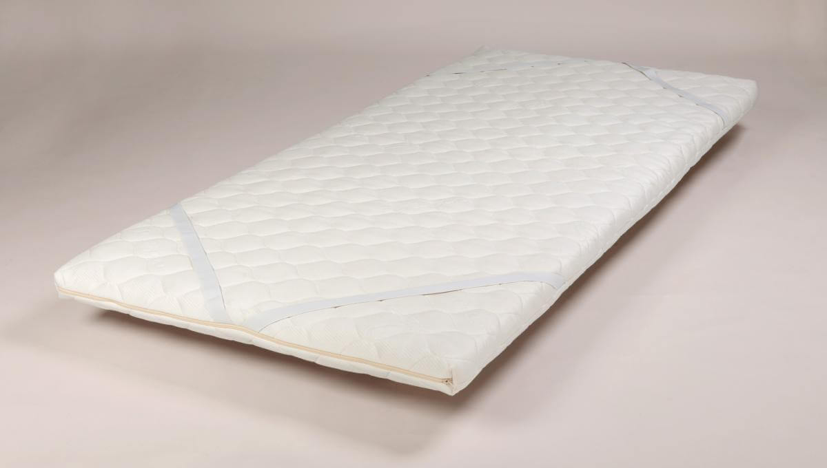 Replete 5 Latex Core Topper Pad (Single Size, Bamboo Blend Cover) showing mattress attachments