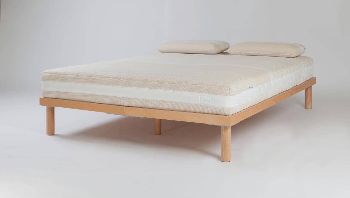Dorsal Flexi Slat Frame (Queen Size) with Dorsal Sunflower Mattress and Dorsal Sunflower Rounded Pillows