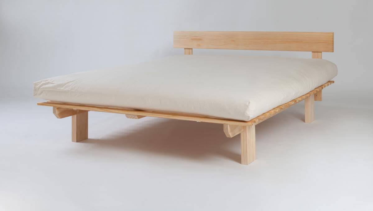 Solid wood frame with natural organic latex futon