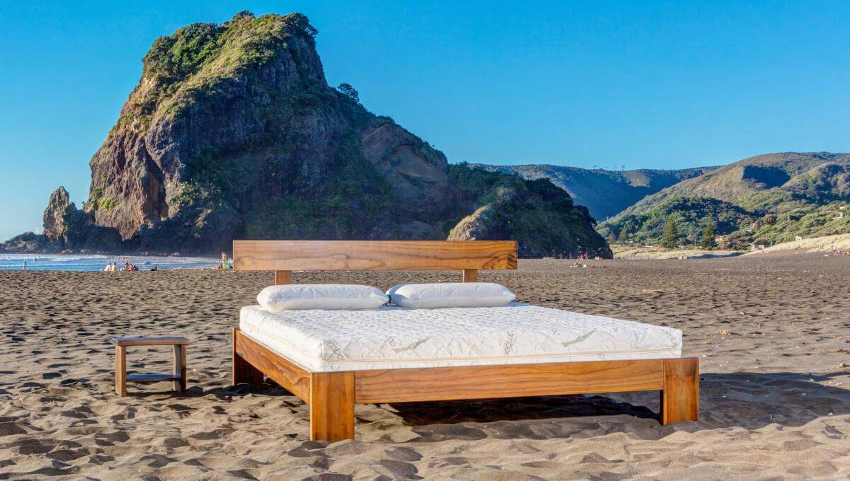Classic Rimu Frame, with Seraphic 15 Mattress (King Size, at Piha Beach)