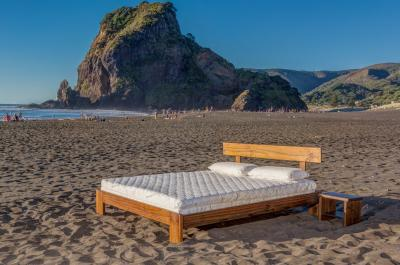 Seraphic 15 (Bamboo Blend Cover, King Size), and Classic Frame (Java Finish) at Piha Beach, West Auckland