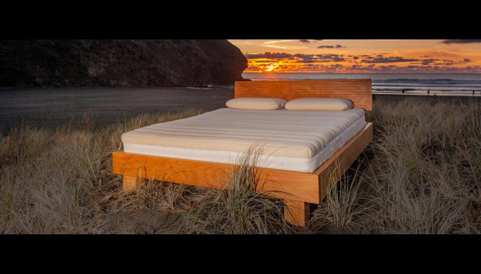 Natural Sunflower Mattress on Riva Macrocarpa Base (King Size) at Piha Beach